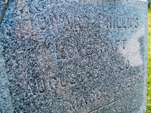 Closeup of HP Lovecraft's grave Nerdipop