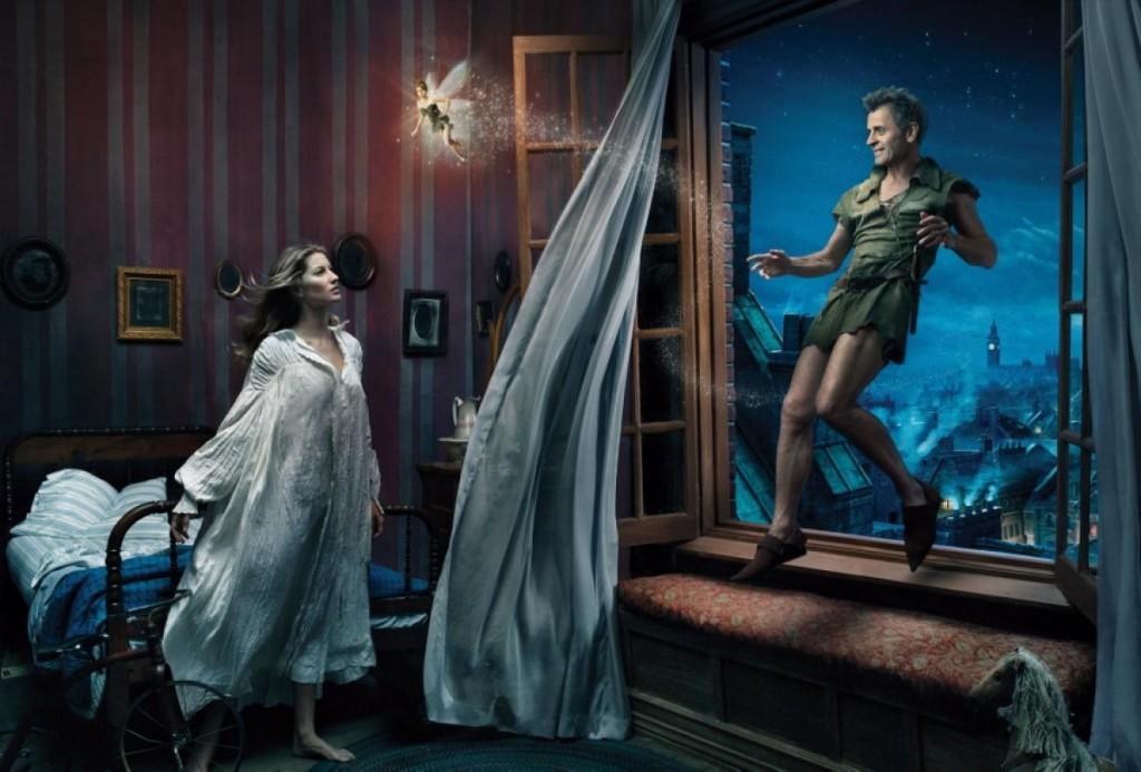Gisele Bundchen, Mikhail Baryshnikov and Tina Fey as Wendy, Peter Pan and Tinkel Bell Nerdipop