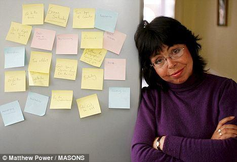 Michelle Philpots pictured here with some of the dozens of notes she writes to herself