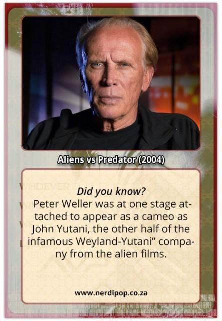 Peter Weller - Aliens Vs Predators facts